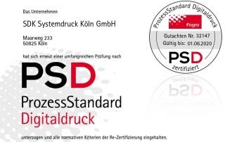 SDK Köln PSD-Zertifizierung - Urkunde